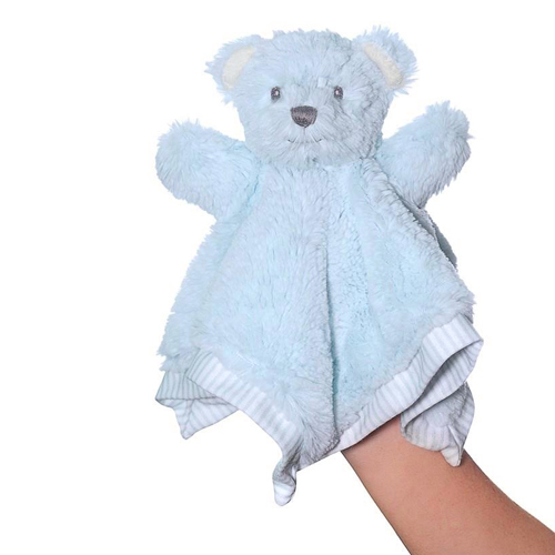 Hug-A-Boo Blue Bear Finger Puppet With Blankie