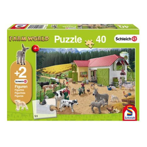 A Day at the Farm Jigsaw with two Schleich figures (40pc)