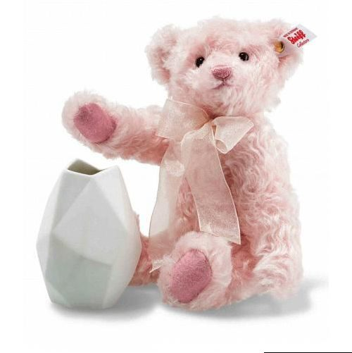 Rose Teddy bear with vase, pale pink