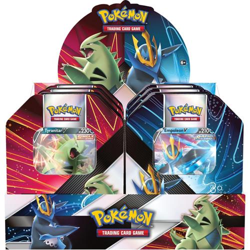 Pokemon TCG: V Strikers Tin - Tyranitar V / Empoleon V: Case of 6